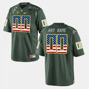 US Flag Fashion Men's #00 Oregon Custom Jersey Green 340771-806