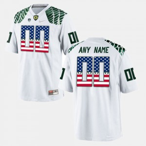 Men's US Flag Fashion #00 Oregon Custom Jersey White 272291-164