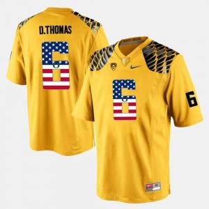 #6 Men US Flag Fashion De'Anthony Thomas Oregon Jersey Yellow 354869-458