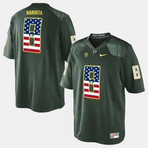 Green US Flag Fashion Marcus Mariota Oregon Jersey Mens #8 356142-682