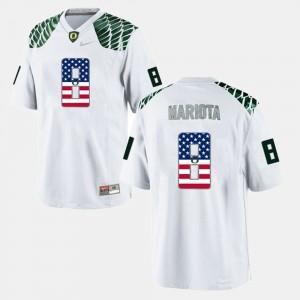 US Flag Fashion For Men's White Marcus Mariota Oregon Jersey #8 752612-245