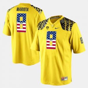 Mens #8 US Flag Fashion Yellow Marcus Mariota Oregon Jersey 269391-564
