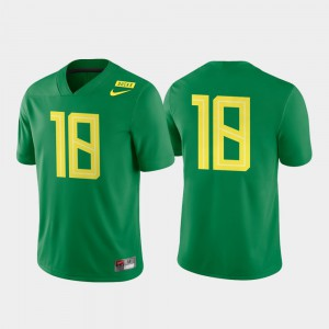 For Men's College Football Game Authentic Oregon Jersey #18 Apple Green 949113-476