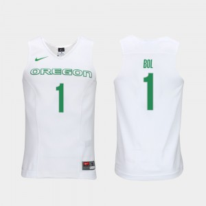 White #1 Bol Bol Oregon Jersey Elite Authentic Performance College Basketball Authentic Performace Men 472306-135