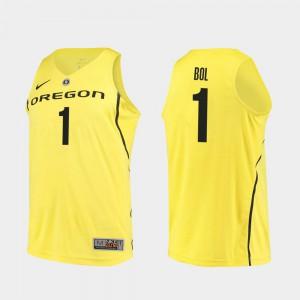Men Yellow College Basketball Bol Bol Oregon Jersey Authentic #1 711238-318