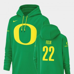 Football Performance Darrian Felix Oregon Hoodie Green For Men #22 Champ Drive 944384-414