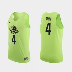 Authentic Apple Green #4 Ehab Amin Oregon Jersey College Basketball Men 585306-905