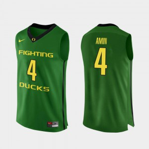 #4 Authentic College Basketball Apple Green For Men Ehab Amin Oregon Jersey 857523-302
