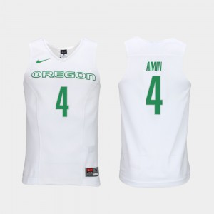 Elite Authentic Performance College Basketball White Men Ehab Amin Oregon Jersey #4 Authentic Performace 666008-293