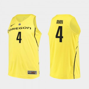 #4 Yellow Ehab Amin Oregon Jersey College Basketball Authentic For Men 468662-959