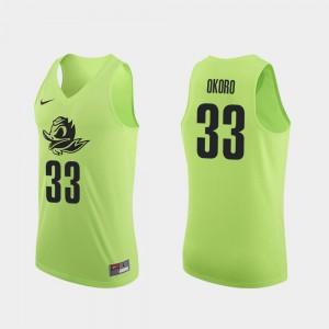 #33 Men Authentic Apple Green College Basketball Francis Okoro Oregon Jersey 178742-133
