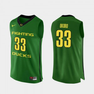 Francis Okoro Oregon Jersey #33 Authentic College Basketball Mens Apple Green 479037-944