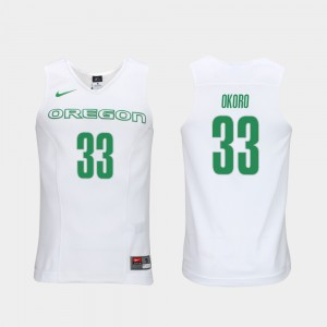 White Francis Okoro Oregon Jersey Men's #33 Elite Authentic Performance College Basketball Authentic Performace 124914-744