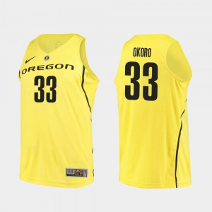 Mens Francis Okoro Oregon Jersey #33 College Basketball Authentic Yellow 418581-116