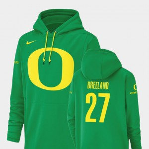 #27 Mens Green Jacob Breeland Oregon Hoodie Football Performance Champ Drive 446563-649