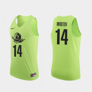 #14 Authentic College Basketball For Men Kenny Wooten Oregon Jersey Apple Green 918120-353