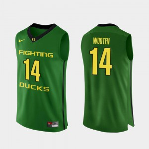 For Men Authentic College Basketball #14 Apple Green Kenny Wooten Oregon Jersey 588338-643