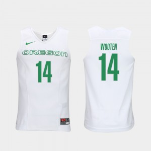 Mens #14 Elite Authentic Performance College Basketball Kenny Wooten Oregon Jersey White Authentic Performace 369027-294