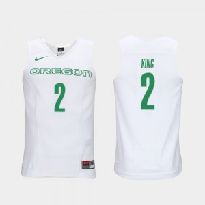 Men Louis King Oregon Jersey Elite Authentic Performance College Basketball Authentic Performace White #2 684382-281