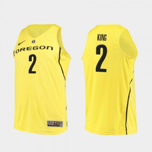 Yellow Authentic Louis King Oregon Jersey Men College Basketball #2 647854-302