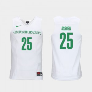 #25 Luke Osborn Oregon Jersey White Elite Authentic Performance College Basketball For Men's Authentic Performace 610337-475