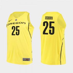 Authentic College Basketball Yellow Men #25 Luke Osborn Oregon Jersey 328939-916
