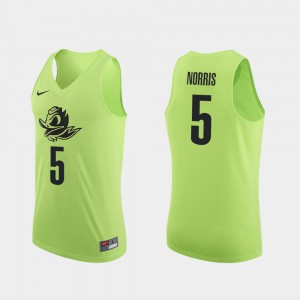 College Basketball Authentic Apple Green Men Miles Norris Oregon Jersey #5 830421-365