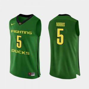 Miles Norris Oregon Jersey Authentic Apple Green #5 College Basketball Men 914467-498