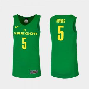 Miles Norris Oregon Jersey #5 Green Replica Men College Basketball 939394-372