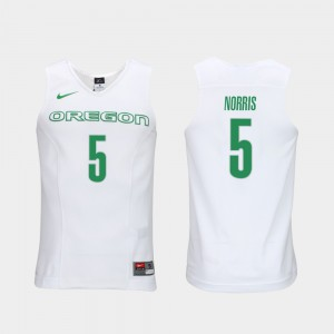 #5 Men Authentic Performace White Elite Authentic Performance College Basketball Miles Norris Oregon Jersey 432549-392