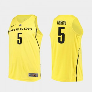 Miles Norris Oregon Jersey College Basketball Yellow For Men Authentic #5 963629-848