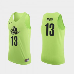 College Basketball Authentic #13 Apple Green Paul White Oregon Jersey Men's 756724-340