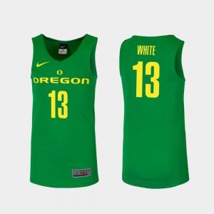 #13 Paul White Oregon Jersey Green College Basketball Men's Replica 551448-617