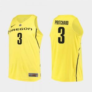 Yellow #3 Authentic Payton Pritchard Oregon Jersey College Basketball Mens 682734-991
