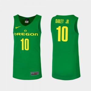 Replica #10 For Men Victor Bailey Jr. Oregon Jersey College Basketball Green 773331-492