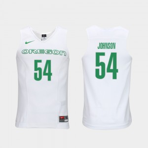 Authentic Performace Will Johnson Oregon Jersey #54 Men's White Elite Authentic Performance College Basketball 852304-640
