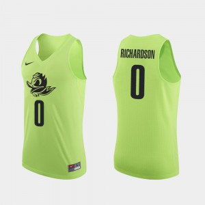 Will Richardson Oregon Jersey Apple Green Authentic #0 College Basketball Men's 591847-237