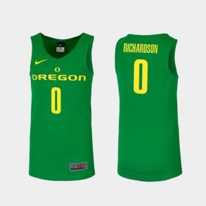 Men's Will Richardson Oregon Jersey Green Replica #0 College Basketball 173828-744