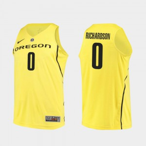 College Basketball Will Richardson Oregon Jersey Authentic #0 For Men Yellow 607796-303