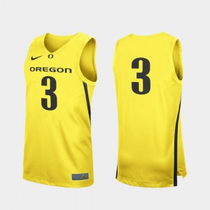Oregon Jersey Men College Basketball Replica #3 Yellow 754878-657