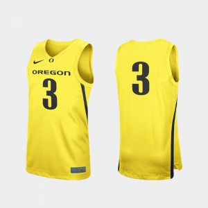 #3 College Basketball Yellow Oregon Jersey For Men's Replica 362450-254
