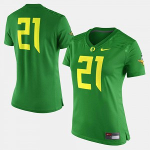 Green Oregon Jersey Ladies College Football #21 149494-285