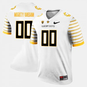 #00 College Limited Football White For Men's Oregon Customized Jerseys 835768-437