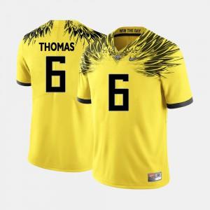 College Football #6 Yellow De'Anthony Thomas Oregon Jersey Men's 502782-389