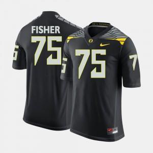Black #75 College Football Men's Jake Fisher Oregon Jersey 980313-482