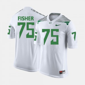 For Men's White Jake Fisher Oregon Jersey College Football #75 242993-544