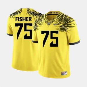 College Football For Men #75 Jake Fisher Oregon Jersey Yellow 585106-230