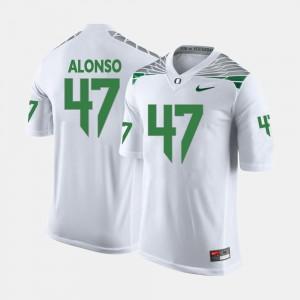 For Men College Football #47 Kiko Alonso Oregon Jersey White 462428-822