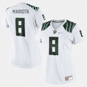 #8 College Football For Women White Marcus Mariota Oregon Jersey 768761-398