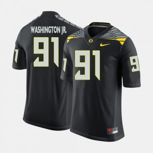 Tony Washington Jr. Oregon Jersey Men's Black #91 College Football 561185-514